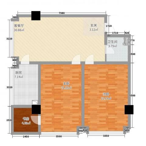永利广场3室1厅1卫1厨128.00㎡户型图