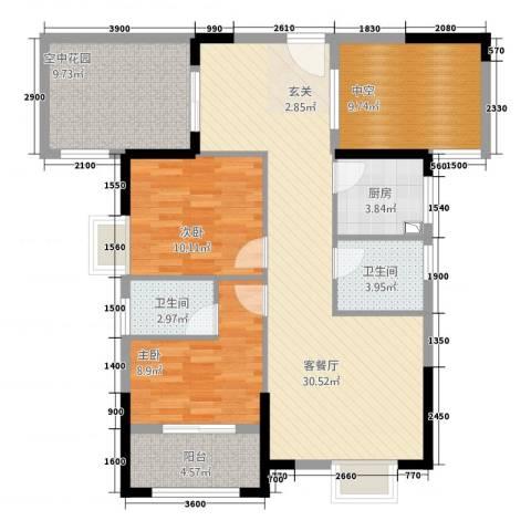 山水华庭2室1厅2卫1厨84.58㎡户型图