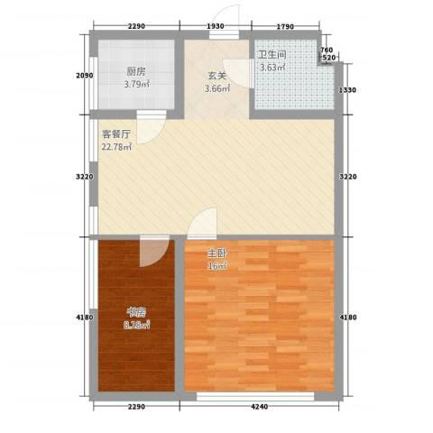 永利广场2室1厅1卫1厨79.00㎡户型图