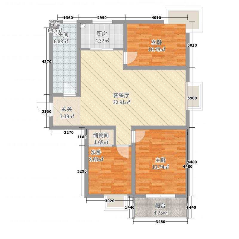 神泽花苑11.10㎡I户型3室2厅1卫1厨