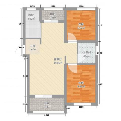 城市阳光花园2室1厅1卫1厨67.00㎡户型图