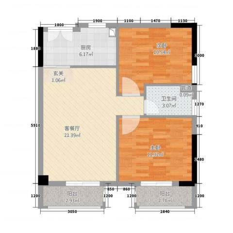 美陶花园2室1厅1卫1厨65.89㎡户型图
