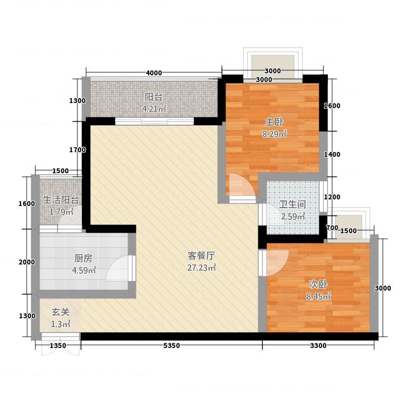 惠泽・锦程75.75㎡户型2室2厅1卫