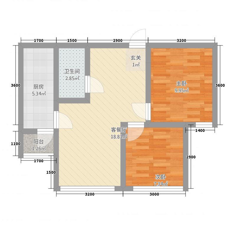 绿野山庄62.10㎡户型2室1厅1卫1厨