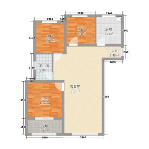 清华园3室1厅1卫1厨76.27㎡户型图