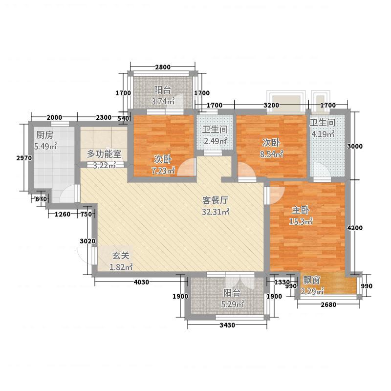 象山新城112.12㎡2户型3室2厅2卫1厨
