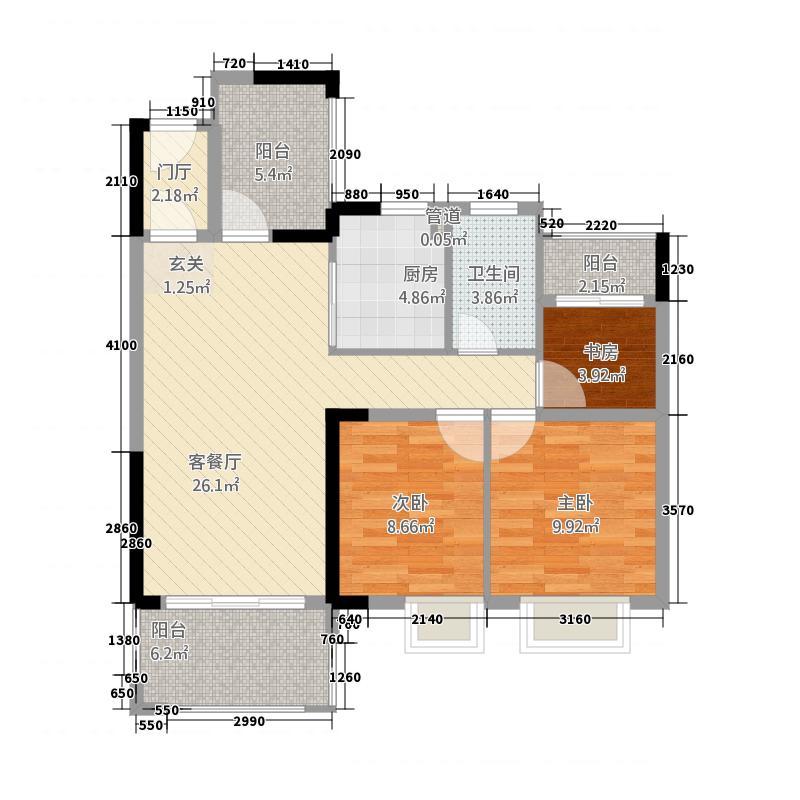 鹏辉・中粮广场15.58㎡A2户型3室2厅1卫1厨