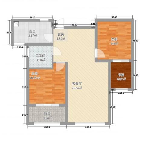 清华园3室1厅1卫1厨68.21㎡户型图
