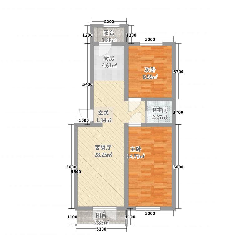 绿野山庄8.11㎡户型2室1厅1卫1厨