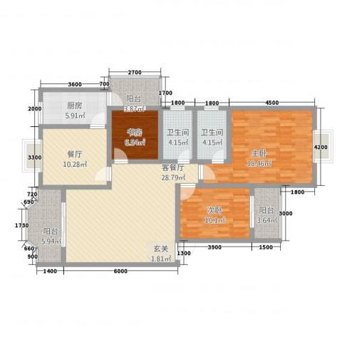 塞纳阳光3室2厅2卫1厨101.84㎡户型图