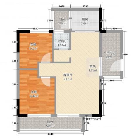 三千俊林2室1厅1卫1厨83.00㎡户型图