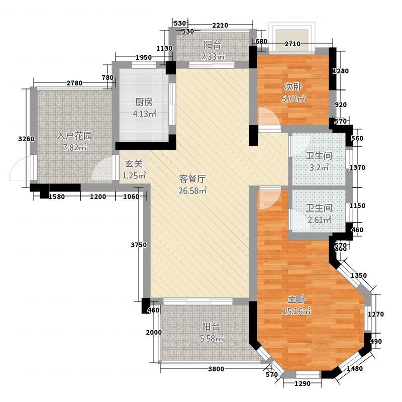 鹏辉・中粮广场16.00㎡B3户型2室2厅2卫1厨