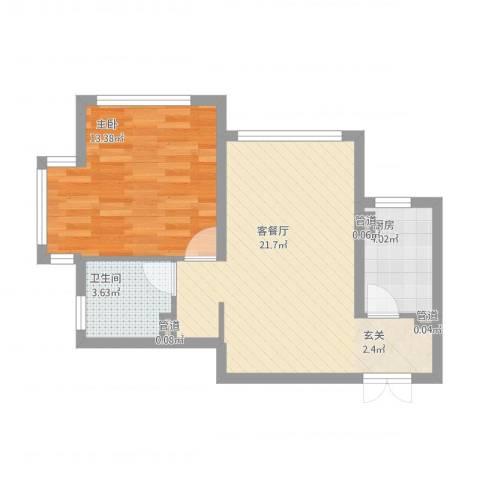 金地经典1室1厅1卫1厨62.00㎡户型图