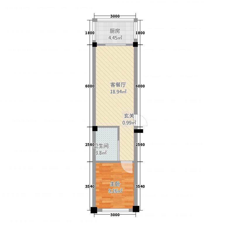 金江花园54.45㎡5445户型1室1厅1卫1厨