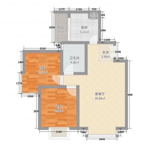 宇发荣域2室1厅1卫1厨83.00㎡户型图