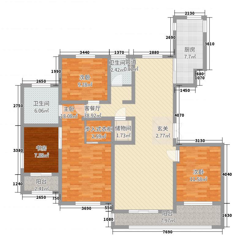 国华天玺4室1厅2卫1厨116.43㎡户型图