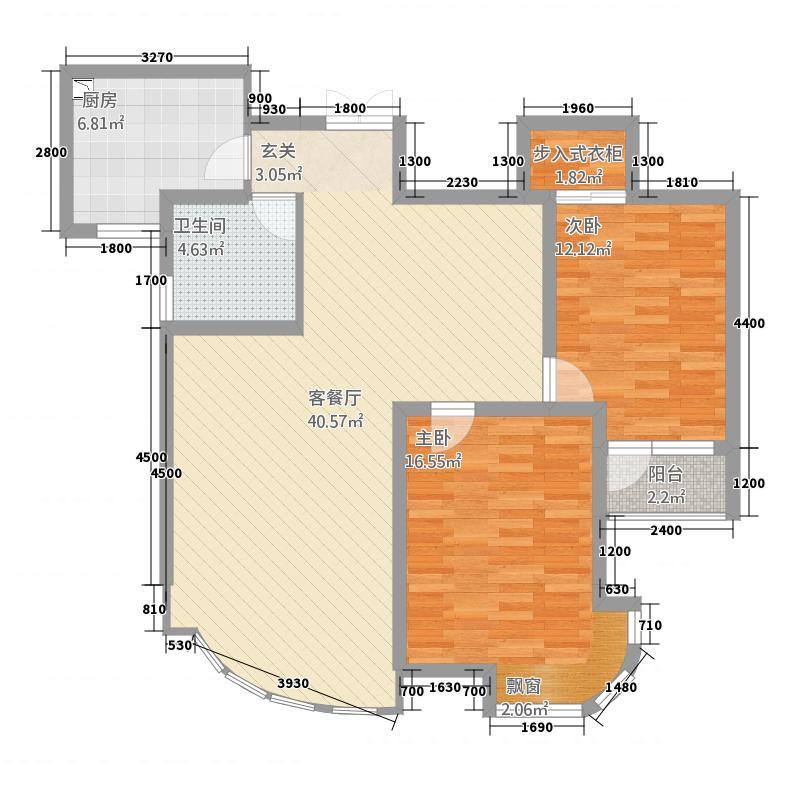 金汇国际16.57㎡D2-b户型2室2厅1卫1厨