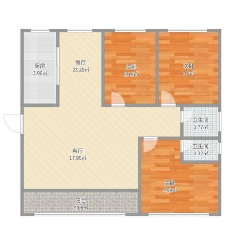 怡和街3室1厅2卫1厨76.00㎡户型图