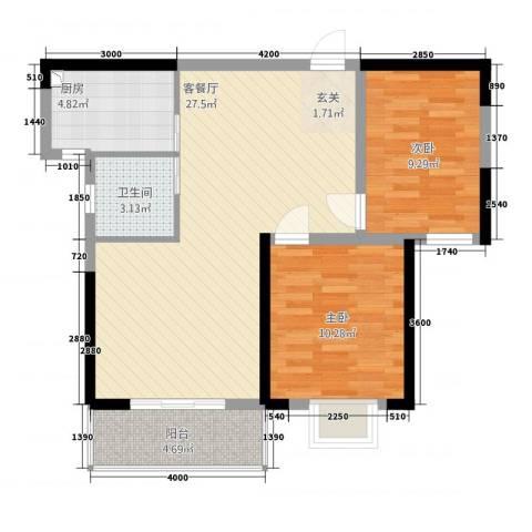 橘洲新苑2室1厅1卫1厨85.00㎡户型图