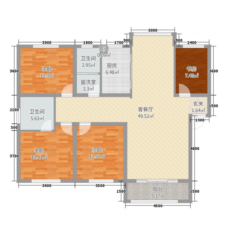 阳光嘉园14.66㎡1#H户型4室2厅2卫1厨