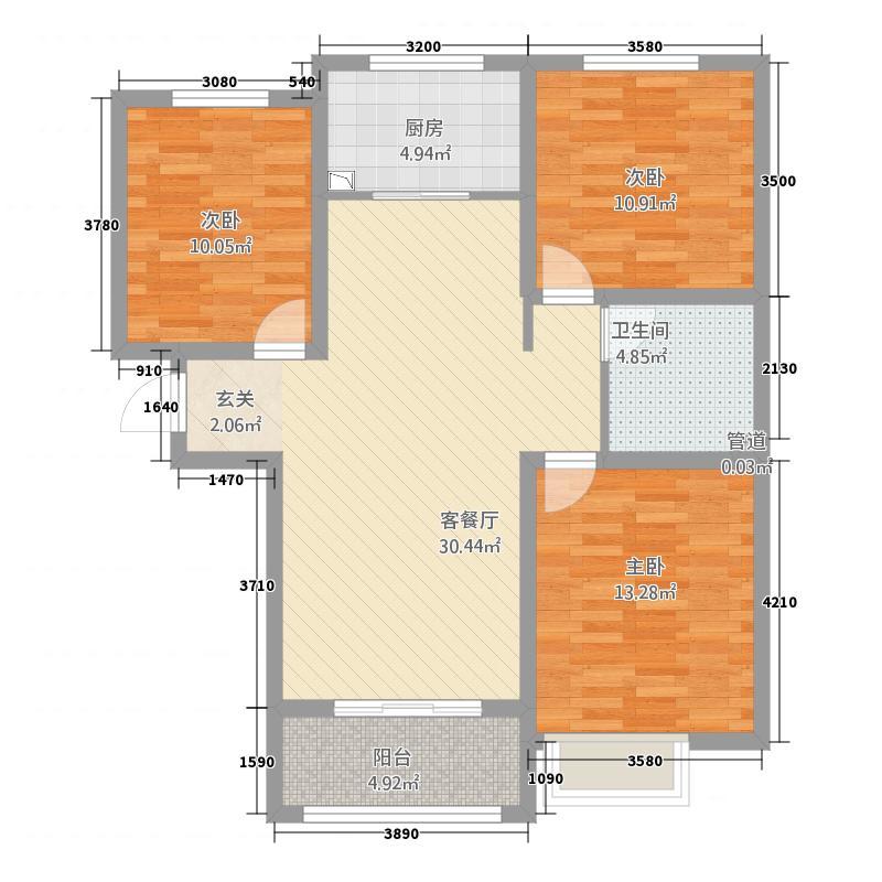 世纪・罗马城1124.20㎡C1户型3室2厅1卫1厨
