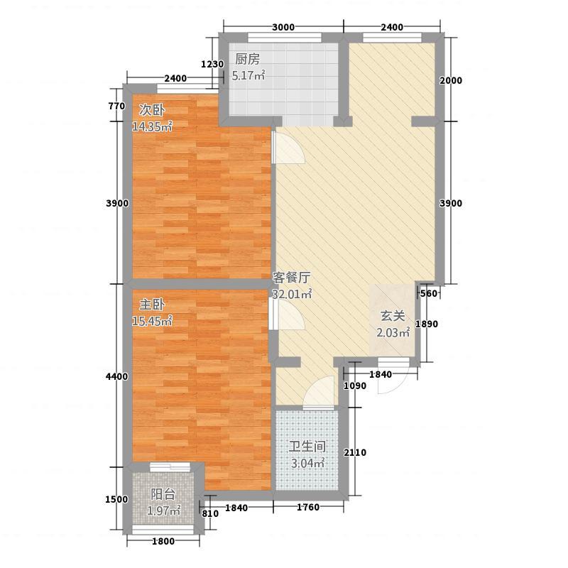 金盛瑞士花园2室1厅1卫0厨94.00㎡户型图