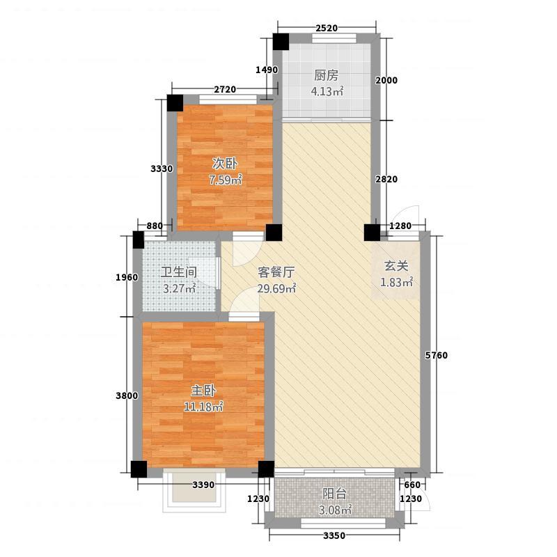 蓝星金谷园2室1厅1卫1厨85.00㎡户型图