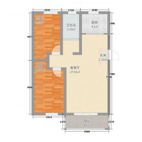 环宇・世纪城二期2室1厅1卫1厨87.00㎡户型图
