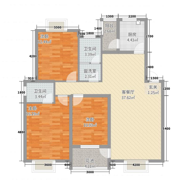 逸景华庭117.22㎡F户型3室2厅2卫1厨