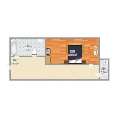 促进路1室1厅1卫1厨62.00㎡户型图