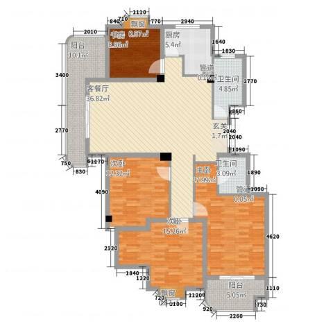 金汇国际4室1厅2卫1厨151.00㎡户型图