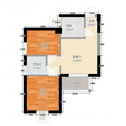 湖边花园2室1厅1卫1厨37.51㎡户型图