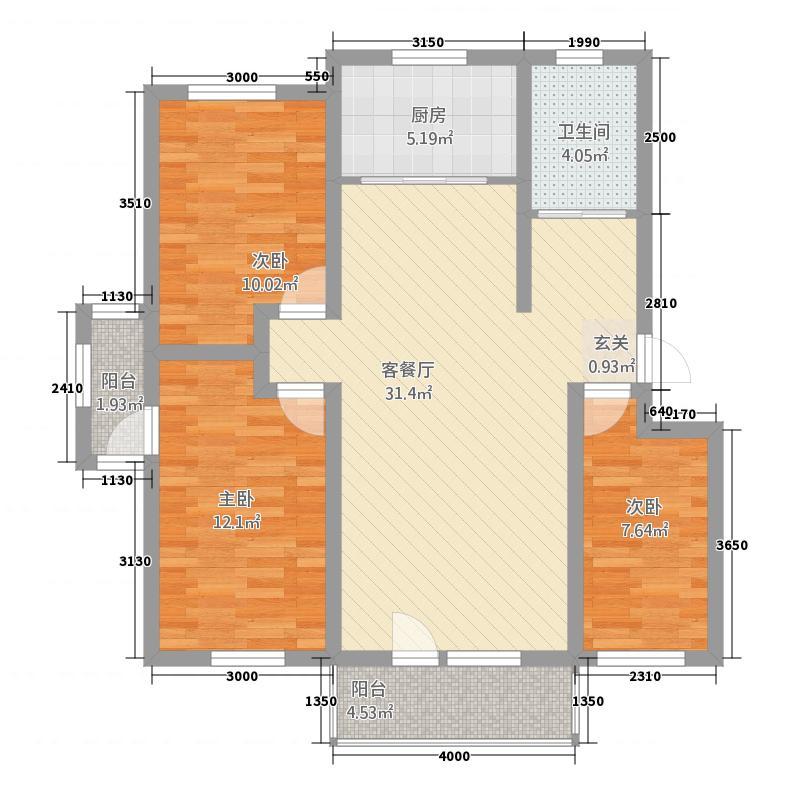 环宇・世纪城二期111.00㎡户型3室2厅1卫1厨