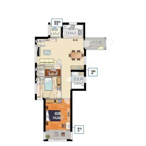 姚江上上城3室1厅1卫1厨109.00㎡户型图