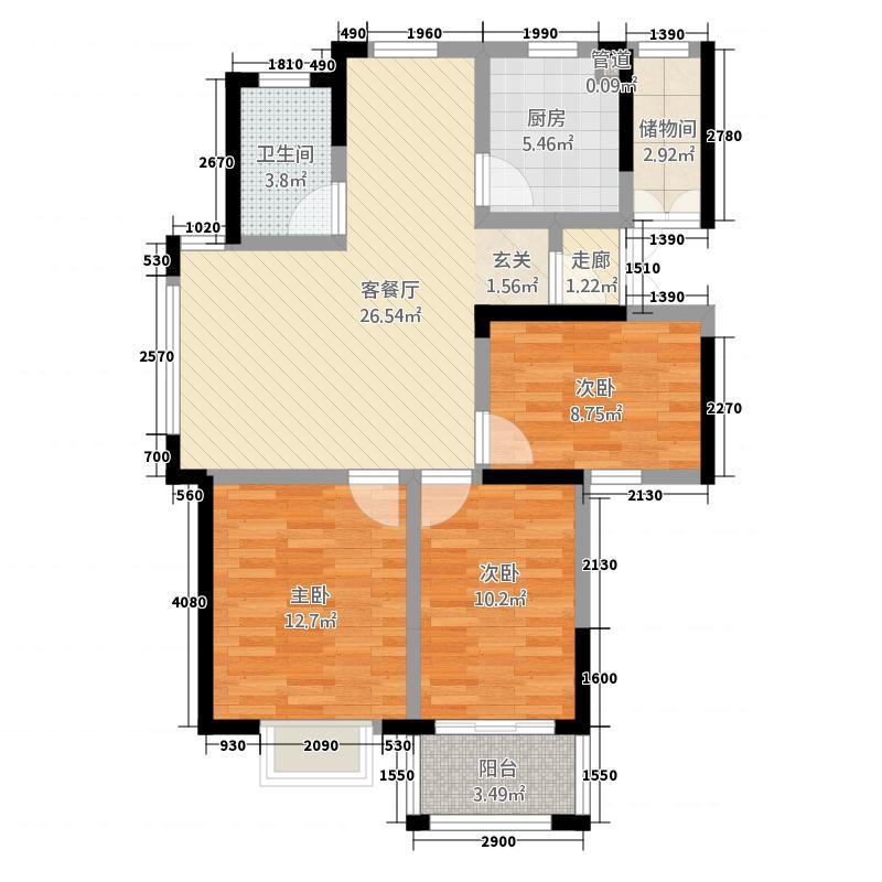 一品国际11.14㎡L1户型3室2厅1卫