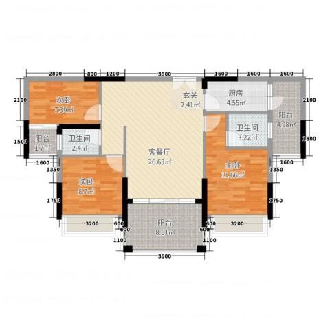 宁海尚峰3室1厅2卫1厨79.72㎡户型图
