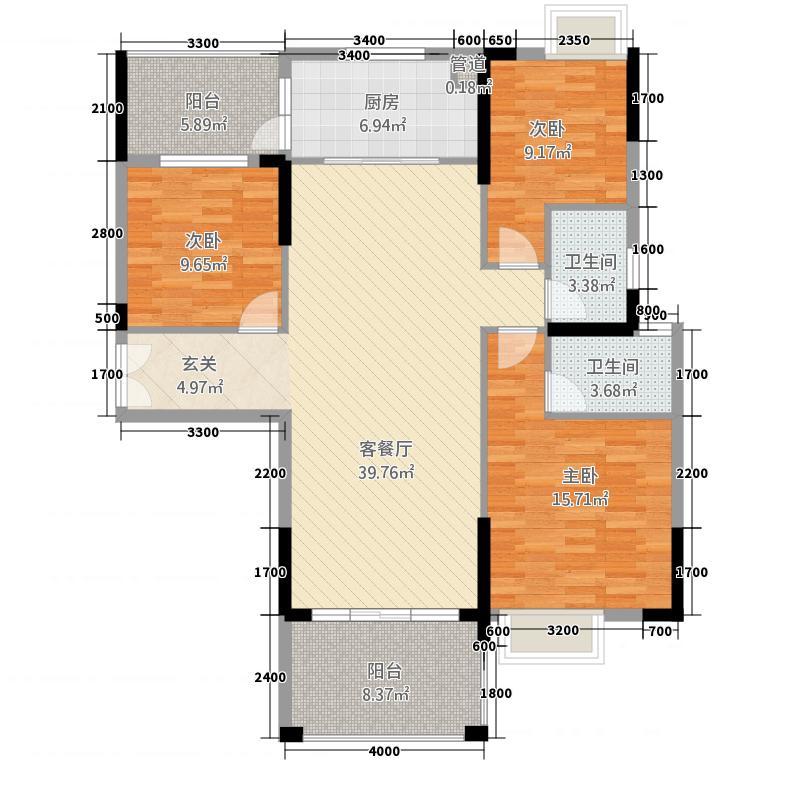 宁海尚峰131.71㎡3栋1单元02/3栋2单元01A-2a户型3室2厅2卫1厨