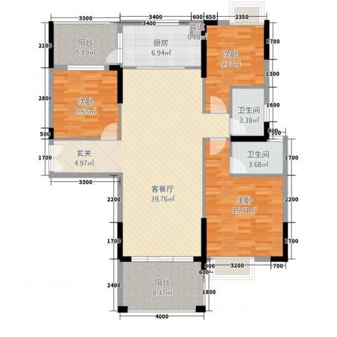 宁海尚峰3室1厅2卫1厨132.00㎡户型图