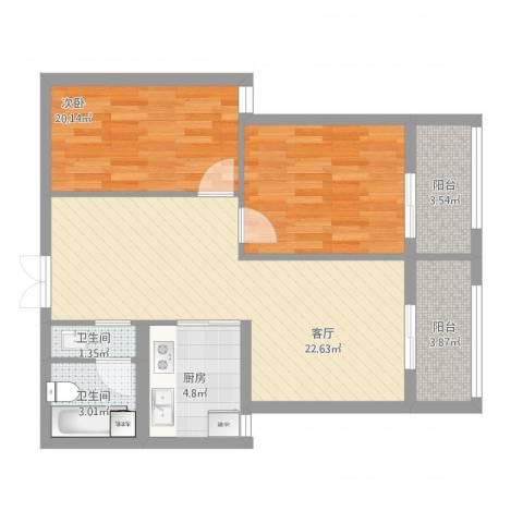 汉水尚庭1室1厅2卫1厨86.00㎡户型图