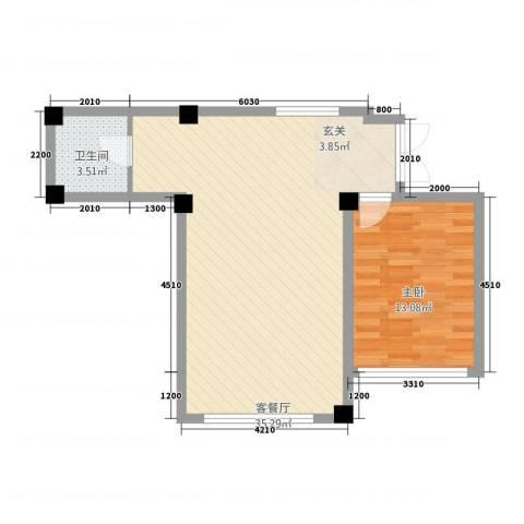 北海名城1室1厅1卫0厨73.00㎡户型图