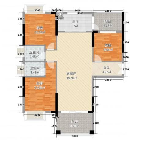 宁海尚峰3室1厅2卫1厨134.00㎡户型图