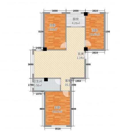 九豪富贵山庄3室1厅1卫1厨119.00㎡户型图