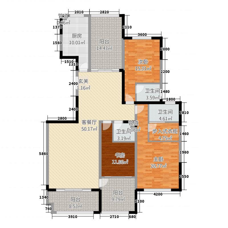 凯泽世纪公园18.20㎡户型4室2厅3卫1厨