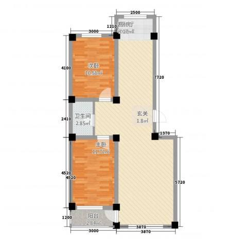 北海名城2室1厅1卫0厨98.00㎡户型图