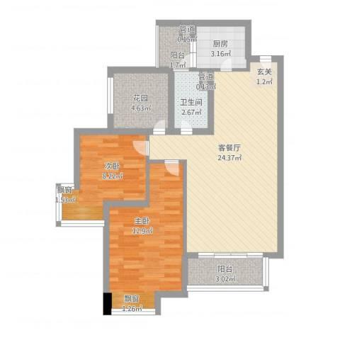 上林雅苑2室1厅1卫1厨89.00㎡户型图