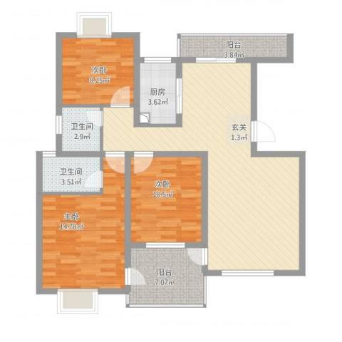 高尔夫花园3室1厅2卫1厨126.00㎡户型图