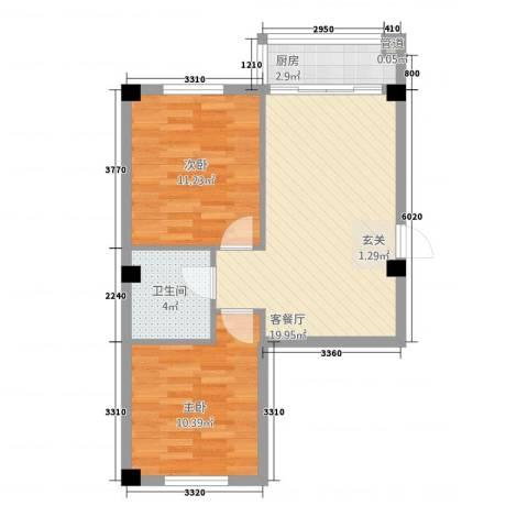 万商国际城市广场2室1厅1卫1厨48.52㎡户型图