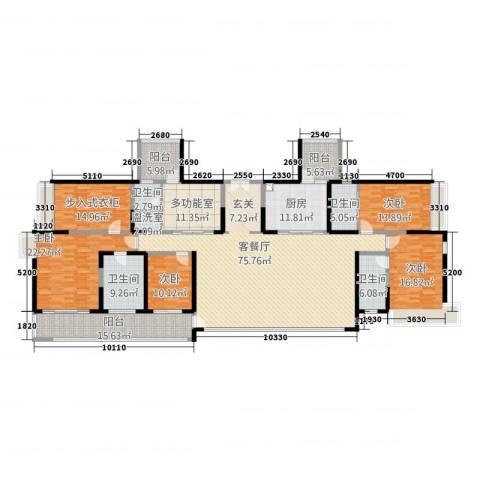 万科公园5号4室2厅4卫1厨324.00㎡户型图