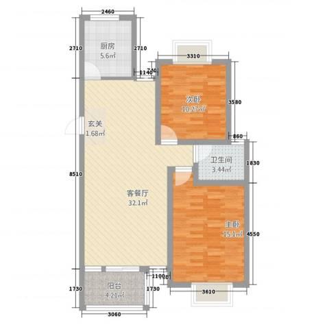 双鑫家园2室1厅1卫1厨101.00㎡户型图