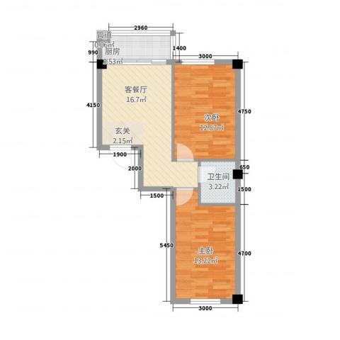 万商国际城市广场2室1厅1卫1厨71.00㎡户型图